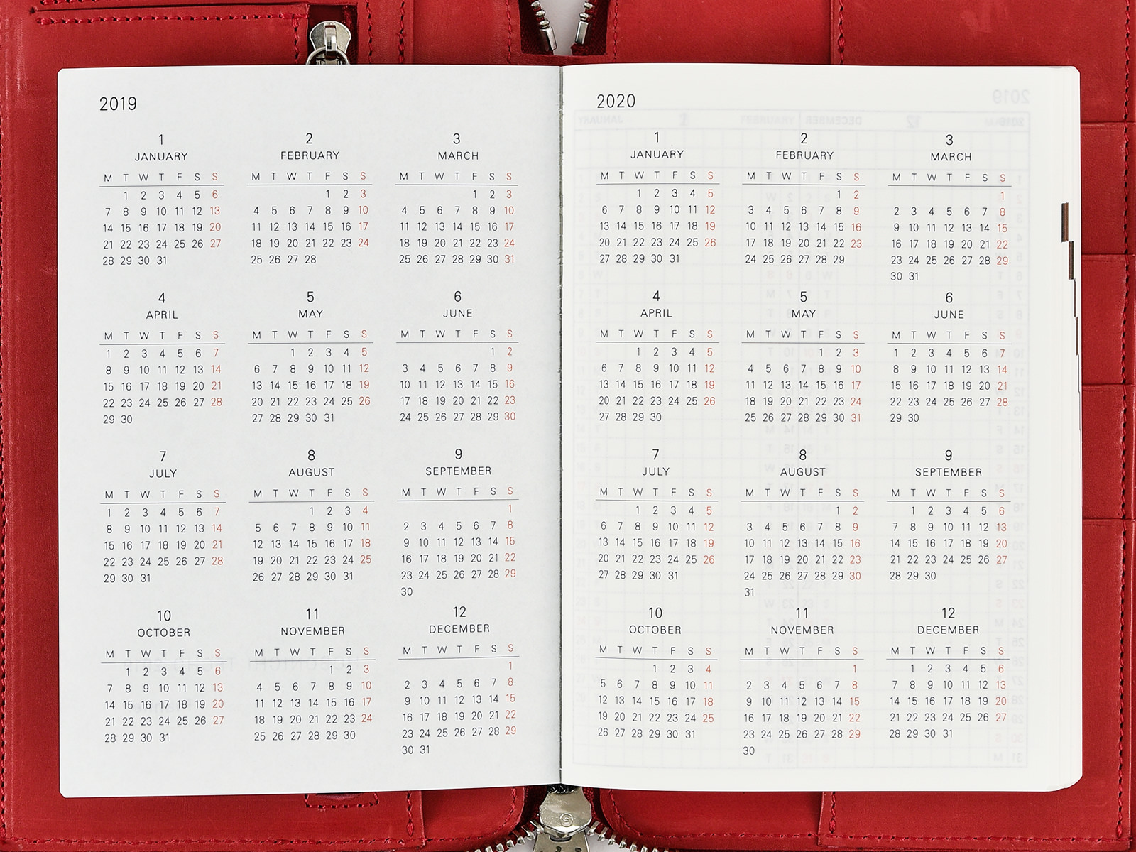 Yearly Calendar / Yearly Index - Hobonichi Techo Planner