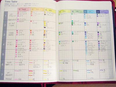 使用色ペンマップ : 《手帳の ... : タイムスケジュール帳 : すべての講義